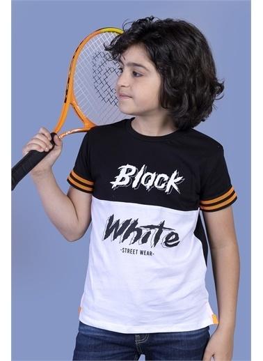 Toontoy Kids Toontoy Erkek Çocuk Kolları Şerit Detaylı İki Renkli Baskılı Tişört Siyah
